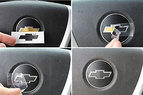 Steering Wheel Bowtie Overlay Decal - 2007-2013 Chevrolet Silverado - (Color: Gloss Black)