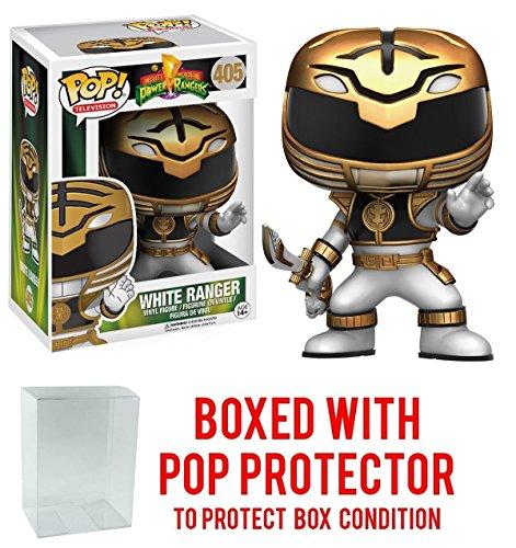 Funko Pop! TV: Mighty Morphin' Power Rangers White Ranger #405 Vinyl Figure (Bundled with Pop BOX PROTECTOR CASE)