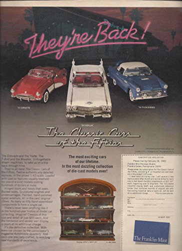 MAGAZINE ADVERTISEMENT For 1989 Franklin Mint The Classic Cars of The Fifties (Collectible Franklin Cars Mint)