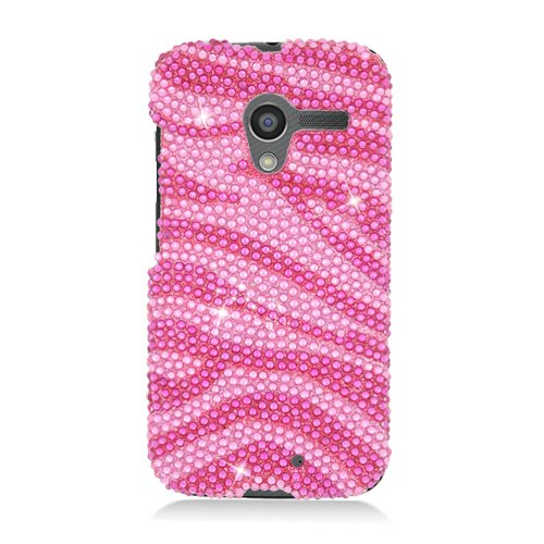 Eagle Cell Diamond Protector Case for Motorola Moto X - Retail Packaging - Hot Pink Zebra ()