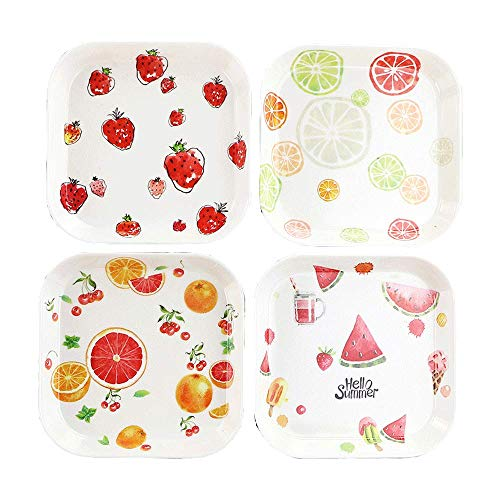4pcs Fruit Creative Plastic Square Plate Flower Cartoon Dinner Plate White Dish Steak Noodle Candy Cake Dessert Fruit Snack Tray Jewelry Set Perfect Gift Present for Friend Family Kid Couple Bracelet White Salad Plate