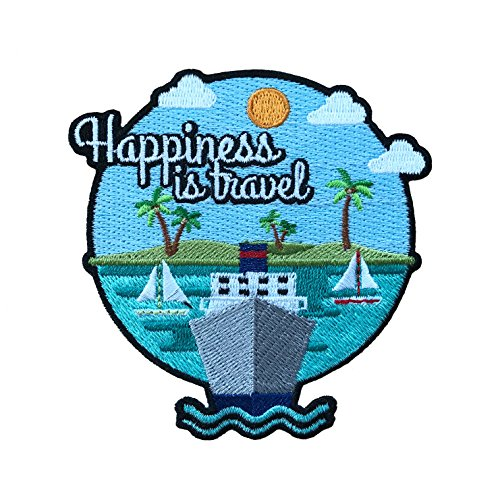 Vinpatch Happiness is Travel Embroidered Sew On/Iron on Patch - Personalized Travel Patches Designed for Shirts Jackets Jeans and Backpacks - Patch Size 3.5'' x 3.5''