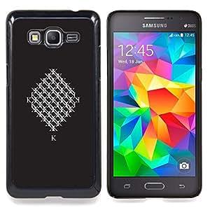 For Samsung Galaxy Grand Prime SM-G530F G530FZ G530Y G530H G530FZ/DS , Resumen minimalista inicial baldosa Negro - Diseño Patrón Teléfono Caso Cubierta Case Bumper Duro Protección Case Cover Funda