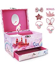 Abody Jewelry Box, Music Box with Pullout Drawer and Ring Slots, Girls Jewelry Box with Mirror, Mechanical Twirling Horse Design, 7 Year Old Girl Gifts Include Bonus Kids Jewelry