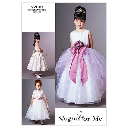Vogue 7819 - Patrones de costura para vestido de niña (instrucciones en inglés y alemán