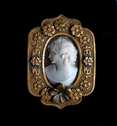 - Antique LARGE Cameo Hand Carved Rare Left FacinG w/ Flower, Ornate Heavy Antique Brass Flower Brooch. Pendant Adapter Necklace Available. One of a Kind!