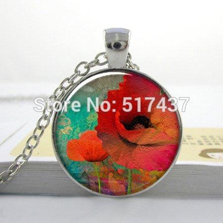 Pretty Lee Poppy Collage Art Pendant Charm Resin Pendant. Poppy Jewelry Poppy Necklace Charm (Thomas Kinkade Jewelry)