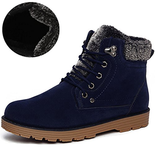 DADAWEN Men's Fur Lined Collar Lace-Up Ankle Snow Boots Blue US Size 8