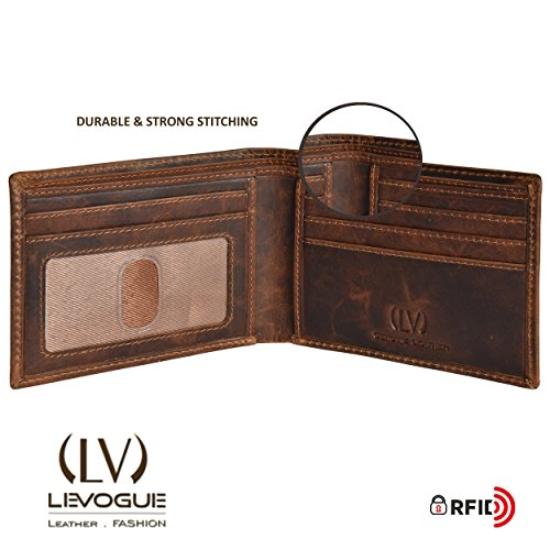 Genuine COW VINTAGE Leather RFID Blocking Handmade Bifold Wallet for Men 4 Credit card+1 ID Window+2 Note Compartment Minimalist Front Pocket Wallet- 100% Full Grain Cow Leather by LEVOGUE by LEVOGUE (Image #3)