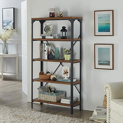 Homissue 5-Tier Bookcase, Vintage Industrial Style Bookshelf with Angle Iron Metal Frame, Free Standing Storage Display Shelves for Home Office, Brown Finish ()