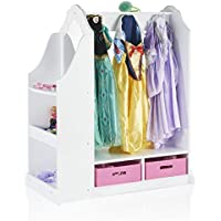 Guidecraft Classic White Childrens Dress-Up & Vanity with Mirror - Armoire, Dresser Kids Furniture