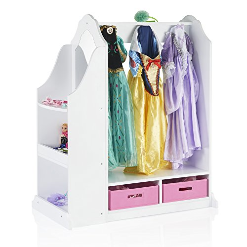 Guidecraft Classic White Children's Dress-Up & Vanity with Mirror - Armoire, Dresser Kids' Furniture