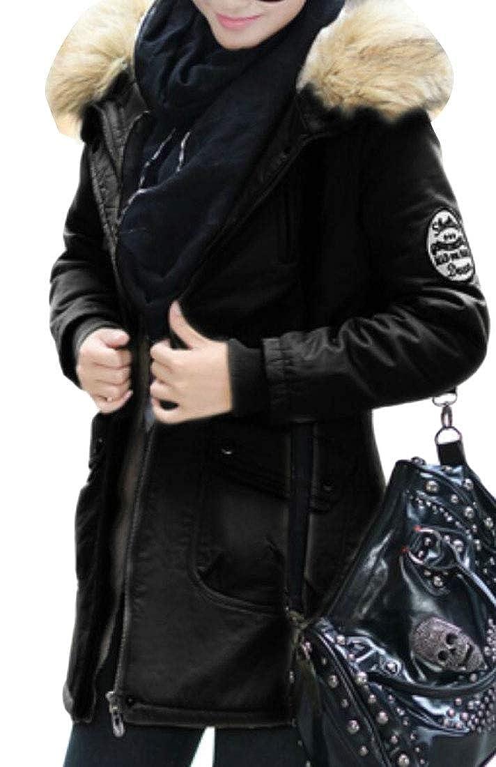 Black Qiangjinjiu Women's Hooded Outwear Thicken Fleece Lined Parkas Long Coats