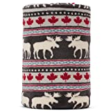 Christmas Elk Maple Leaf Pattern Dark Grey Background Soft Lightweight Coral Fleece 230GSM Blanket Throw 50 X 60