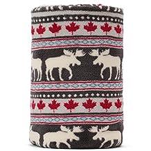 Christmas Elk Maple Leaf Pattern Dark Grey Background Soft Lightweight Coral Fleece 230GSM Blanket Throw 50 X 60