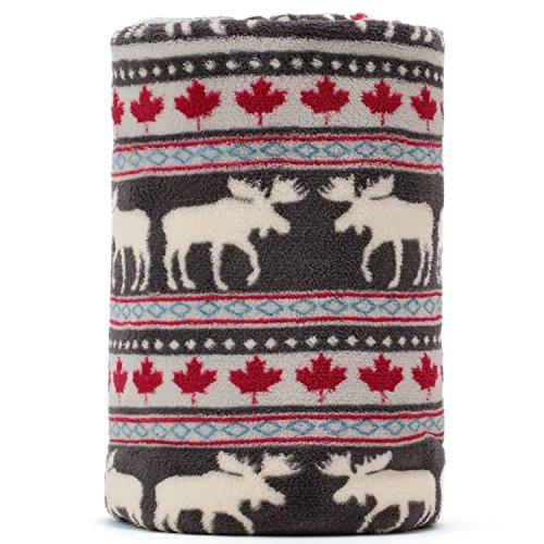 COSMOZ Christmas Elk Maple Leaf Pattern Dark Grey Background