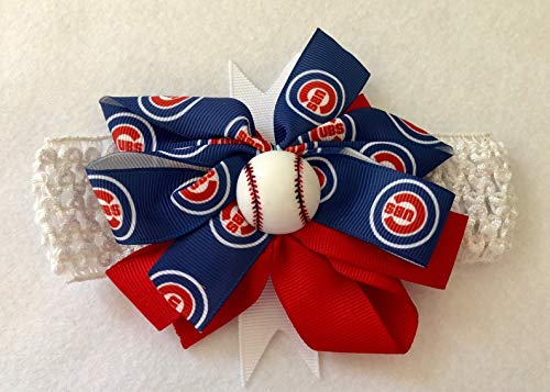 Chicago Cub Baby Girl Boutique Bow Crocheted Headband ()
