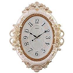 YE ZI Pointer Quartz Wall Clock European Oval Wall Clock Silent Living Room Quartz Clock Creative Craft Clock Home Decoration Clock (Color : Beige, Size : 7055cm)