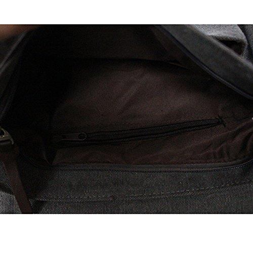 Moonbuy Bolso Bandolera de Tela de Lona para Hombre, Bolso Multifuncional Messenger Bag Travel Bolsas de hombro (Café) Gris