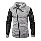 kaifongfu Outwear Tops,Solid Color Sweater Zipper Hoodie Men Leather Patchwork Shirt (Gray,M)
