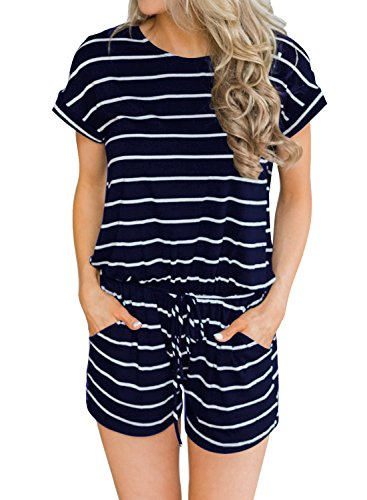 Cotton Short Sleeve Romper - MIHOLL Women's Summer Striped Jumpsuit Casual Loose Short Sleeve Jumpsuit Rompers (Navy Blue, Large)