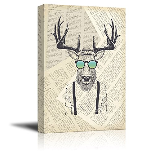 Creative Animal Figure on Vintage Paper Mr Elk Cool Sun Glasses