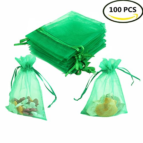 - Sheer Organza Bags,Smozer 100pcs 4x6 inch Sheer Organza Wedding Party Favor Gift Jewelry Beads Candy Pouch Bag (Green)