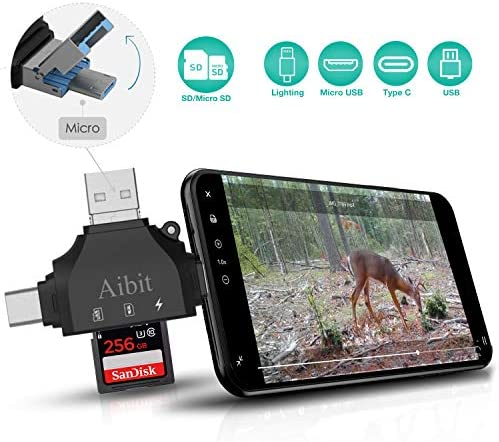 Aibit Trail Camera Viewer Game Camera Viewer to View Hunting Photos Videos or Any Wildlife Game Cam for iPhone iPad Android Phone Tablets PC Laptop with 4 in 1 Port Black