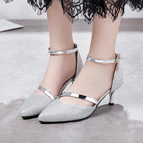 YLLHX Chaussures pour Femmes Chaussures de Mariée Haut Talon Robe Dîner Sandales de Fées Pointues Bouche Peu Profonde Unique Princesse Printemps Eté Automne (Taille : UK6/EU39/CN39) uHfgcjF