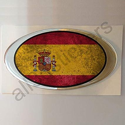 Pegatina España Ovalada Relieve Bandera Resina 3D Estilo Desgastado Viejo: Amazon.es: Coche y moto