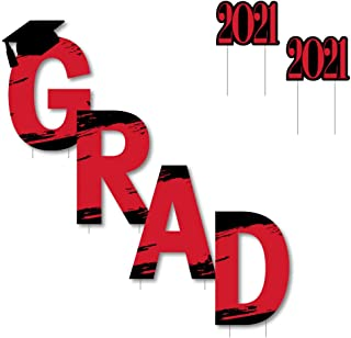 product image for Big Dot of Happiness Red Grad - Best is Yet to Come - Yard Sign Outdoor Lawn Decorations - Red 2021 Graduation Party Yard Signs - Grad