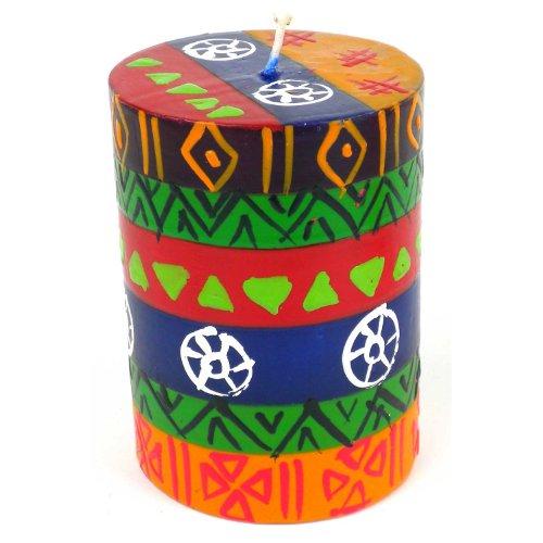 - Global Crafts Single Boxed Hand-Painted Pillar Candle - Shahida Design - Nobunto Candles