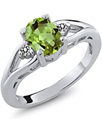 Green Peridot and White Diamond 925 Sterling Silver Women's 3-Stone Ring 1.40 Ct Oval Gemstone Birthstone (Available 5,6,7,8,9)