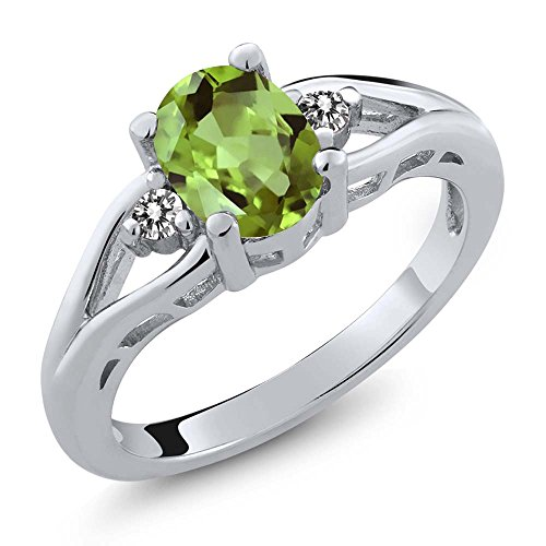 1.40 Ct Oval Green Peridot and White Diamond 925 Sterling Silver Women's 3 Stone Ring