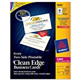 Avery 5876 Two-Side Printable Clean Edge® Business Cards for Laser Printers Ivory, Pack of 200, Office Central
