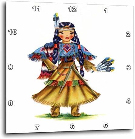 3dRose Print of Retro Native American Doll – Wall Clock, 10 by 10-Inch DPP_203891_1