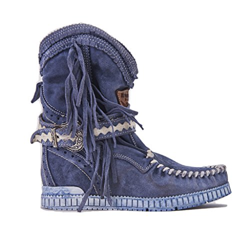 El Vaquero Socket Vrouw Arya Wornout / Marine, Met Gesp En Franjes, Innerlijke Wig 50, Blue Suede, Gemaakt In Italië Nieuwe Lente Zomer Collectie 2018