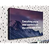 COLORSFORU Everything you've ever wanted is on the other side of fear inspirational Success Quote Custom Canvas Print 20x16 Inch Framed Home Decor Wall Art Painting Canvas Poster Oil