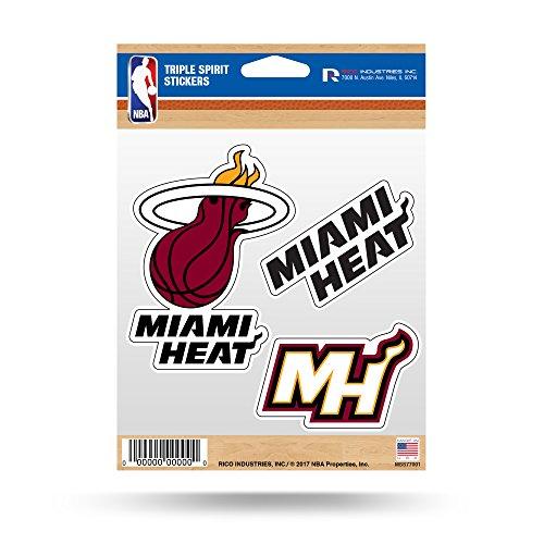 Rico Industries NBA Miami Heat Die Cut 3-Piece Triple Spirit Sticker Sheet ()