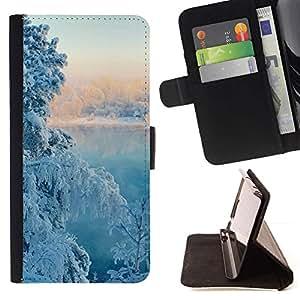 For Sony Xperia Z5 Compact Z5 Mini (Not for Normal Z5) Case , Naturaleza nieve del invierno Árbol- la tarjeta de Crédito Slots PU Funda de cuero Monedero caso cubierta de piel