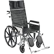 Drive Medical Sentra Reclining Wheelchair with Various Arm Styles and Elevating Legrest, Chrome, 20
