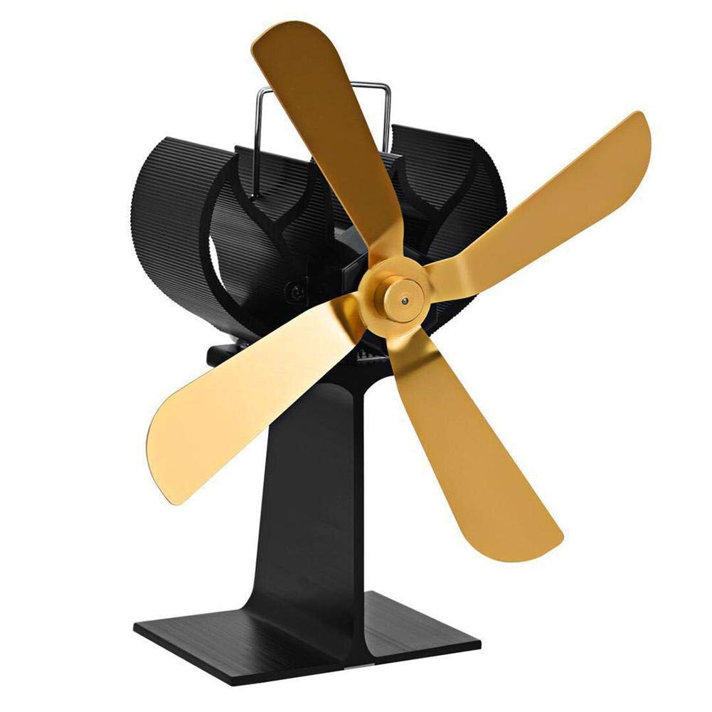 DAVEVY Heat Powered Fireplace Fan 4 Blade Stove Fan Eco Friendly Silent Efficient Fan Heat Circulation for Fireplaces Wood/Log Burner(Gold)