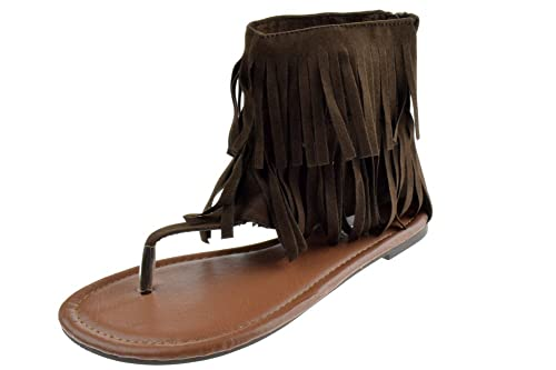 02747b1b3e2b Forever Anika 56 Womens Fringe Thong Flat Gladiator Sandals Brown 5
