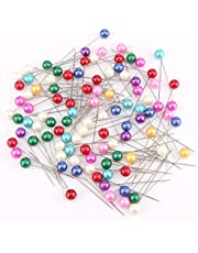 AIEX 100Pcs Sewing Pins Colorful Glass Ball Head Straight Quilting Pins