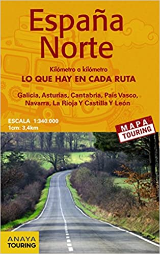 Mapa de carreteras 1:340.000 - Norte de España desplegable Mapa Touring: Amazon.es: Anaya Touring: Libros