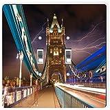 Rikki Knight 2038 Double Toggle Lightening Tower Bridge At Night -London Design Light Switch Plate
