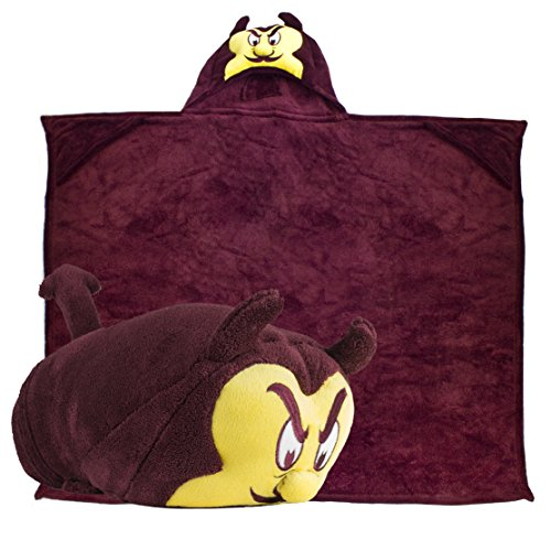 (Comfy Critters Stuffed Animal Blanket - College Mascot, Arizona State University 'Sparky The Sun Devil' - Kids Huggable Pillow and Blanket Perfect for The Big Game, Tailgating, and Much More. )