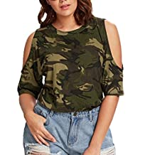 Alixyz Women Cold Shoulder T-Shirts Casual O-Neck Camouflage Tops Strapless Blouse Plus Size