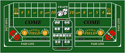 Casino Craps Rectangular Silk-Screened Green Felt Table Cover