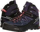 Salomon X Alpine Mid Leather GTX Boot - Women's Black / Nightshade Grey / Coral Punch 8